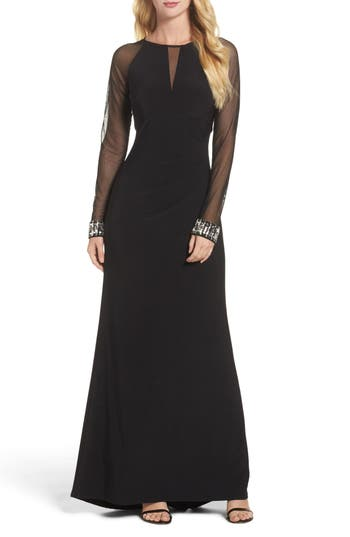 Vince Camuto Embellished Illusion Gown, Black