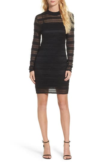 Bardot Mia Mesh Knit Body-Con Dress, Black
