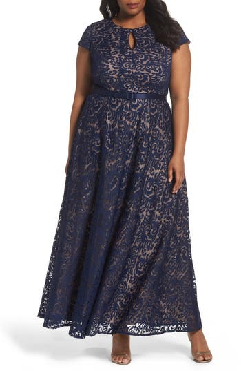 Plus Size Alex Evenings Belted Lace A-Line Gown, Blue