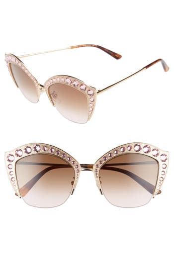 Women's Gucci 53Mm Embellished Cat Eye Sunglasses - Gold/ Brown