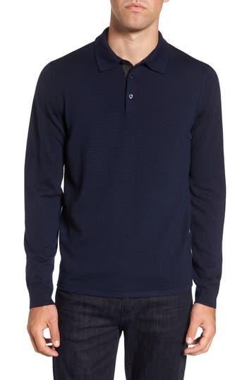 Big & Tall Nordstrom Shop Merino Wool Polo Sweater, Blue