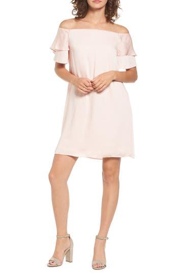 Love, Fire Ruffle Off The Shoulder Dress, Pink