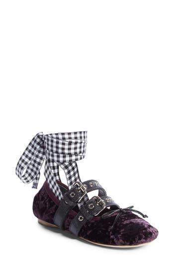 Miu Miu Lace-Up Ballerina Flat, Purple