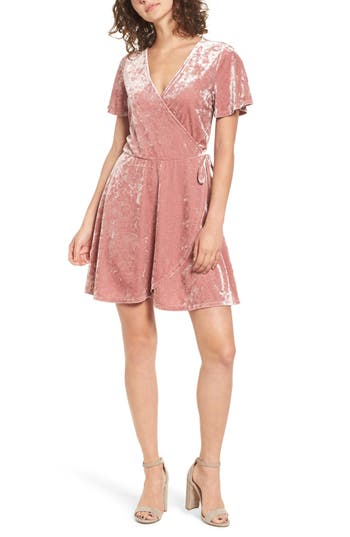 Love, Fire Crushed Velvet Surplice Dress, Pink
