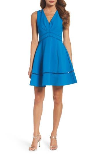 Adelyn Rae Fit & Flare Dress, Blue