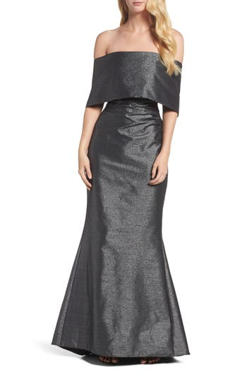 Vince Camuto Ruched Metallic Knit Off The Shoulder Gown, Metallic