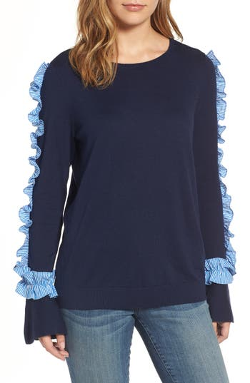 Halogen Ruffle Sweater, Blue