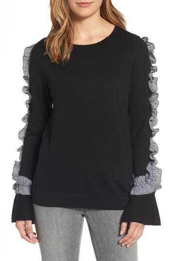 Halogen Ruffle Sweater, Black