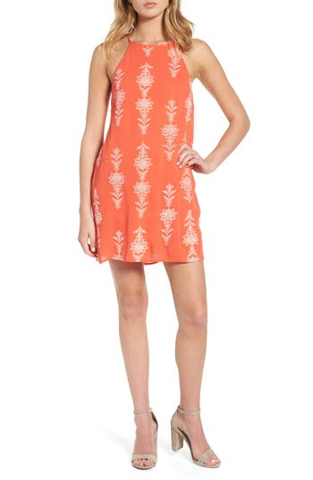 Dee Elly Print Strappy Shift Dress, Coral