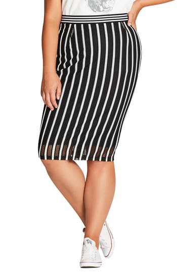 Plus Size City Chic Game Day Skirt, Black