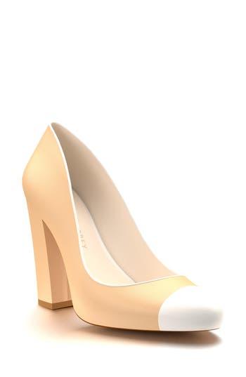 Shoes Of Prey Cap Toe Block Heel Pump, Brown