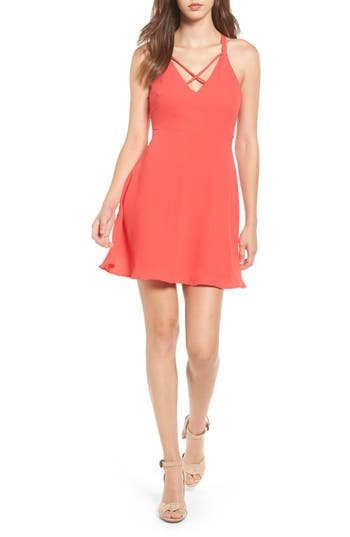 Lush Cross Strap Fit & Flare Dress, Red