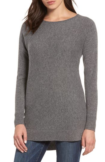 Halogen High/low Wool & Cashmere Tunic Sweater, Grey