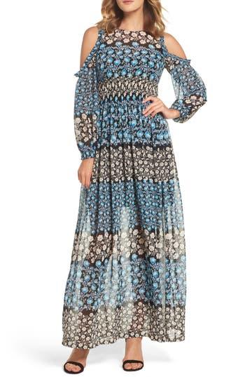 Eliza J Cold Shoulder Maxi Dress, Blue