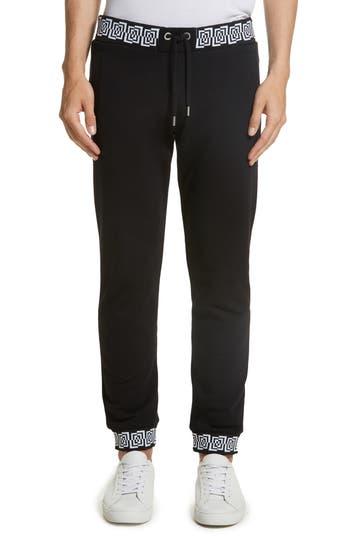 Versace Jeans Contrast Print Jogger Pants, Black
