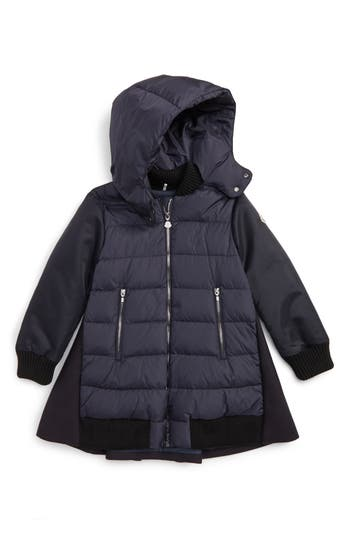 Girl's Moncler Blois Mixed Media Down Coat