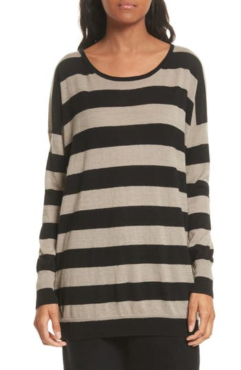 Vince Wide Stripe Wool & Cashmere Sweater, Beige