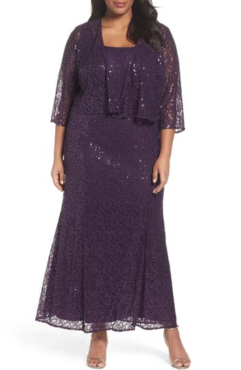 Plus Size Alex Evenings Sequin Lace Gown With Jacket, Purple
