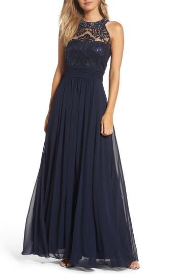 Eliza J Lace Bodice Gown, Blue