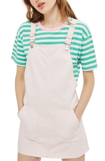 Women's Topshop Denim Pinafore Dress, Size 2 US (fits like 0) - Pink