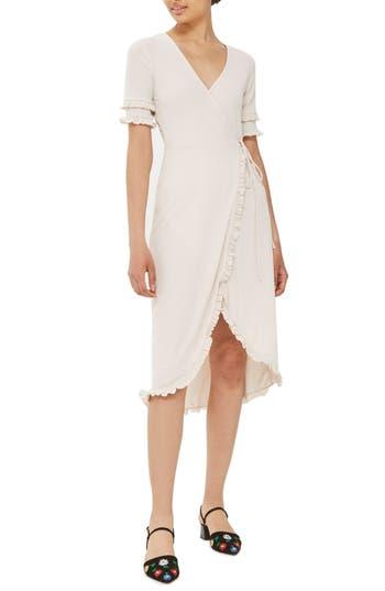 Women's Topshop Ruffle Trim Wrap Dress, Size 8 US (fits like 6-8) - Beige