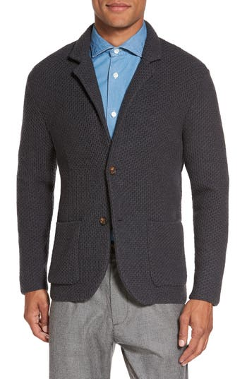Eleventy Textured Wool Sweater Jacket, Grey