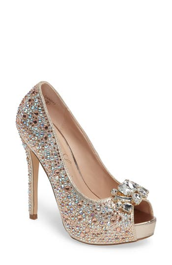 Lauren Lorraine Candy 2 Embellished Platform Pump- Metallic