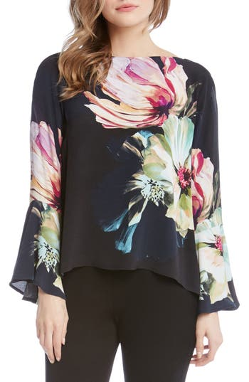 Women's Karen Kane Bell Sleeve Floral Top, Size X-Small - Purple
