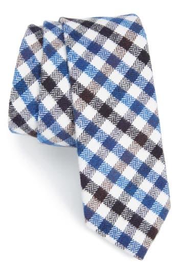 Men's Nordstrom Men's Shop Gingham Cotton Skinny Tie, Size Regular - Blue