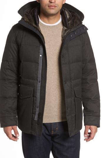 Men's Cole Haan Faux Fur Trim Mixed Media Hooded Down Jacket