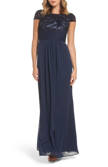 Adrianna Papell Embellished Gown, Blue