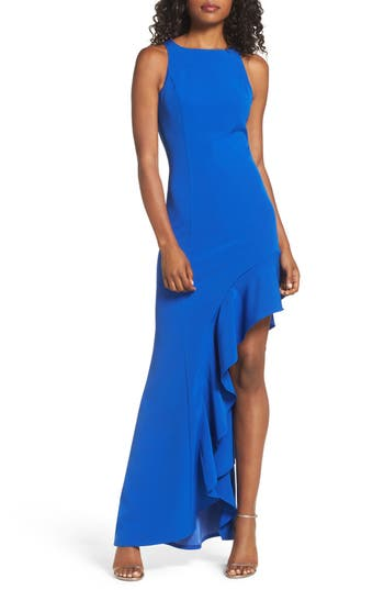 Jay By Jay Godfrey Stella Asymmetrical Ruffle Gown, Blue