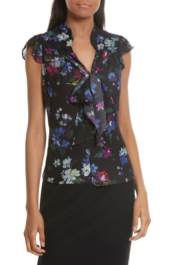 Women's Milly Emily Painted Floral Silk Top, Size 0 - Black