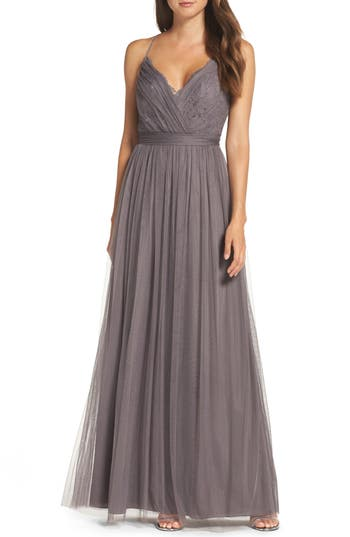 Watters Aria Lace & Tulle Gown, Grey