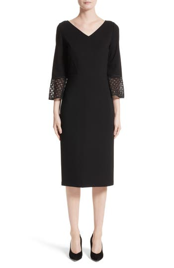 Lafayette 148 New York Lace Trim Sheath Dress, Black