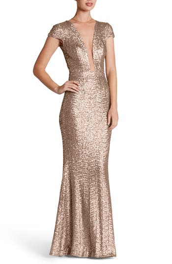 Dress The Population Michelle Sequin Gown, Pink