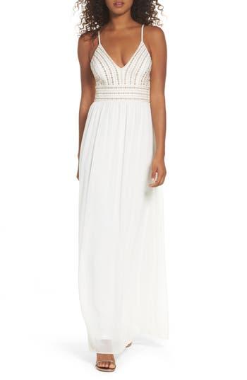 Lulus Glamorous Gala Embellished Maxi Dress, White