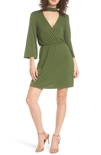 Everly Surplice Choker Dress, Green