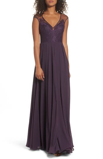 Hayley Paige Occasions Mixed Media A-Line Gown, Purple