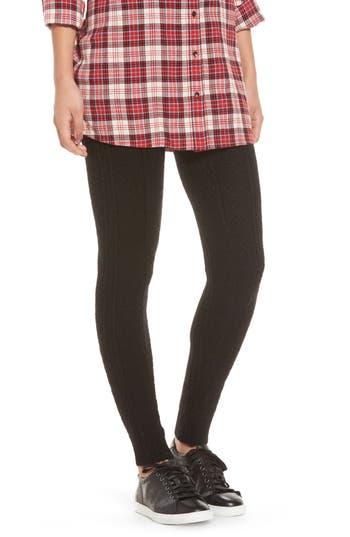 Hue Cable Knit Sweater Leggings, Black