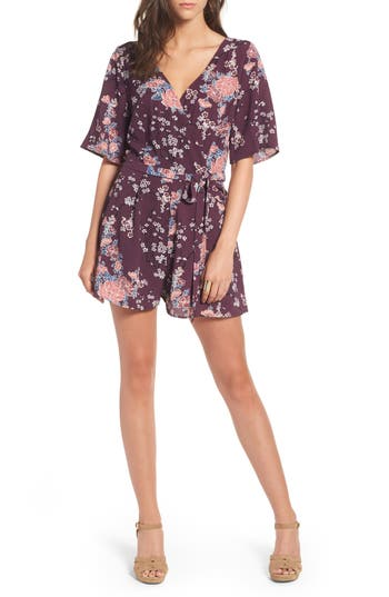 Women's Row A Floral Print Romper, Size Small - Purple