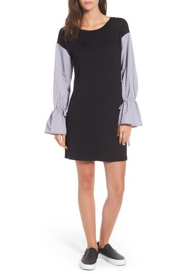Socialite Poplin Sleeve Sweatshirt Dress, Black