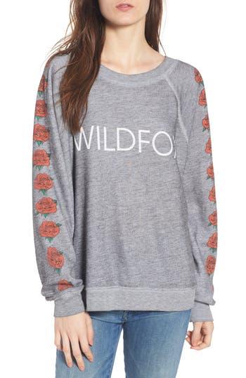 Women's Wildfox Bouquet Thrashed Sweatshirt, Size X-Small - Grey