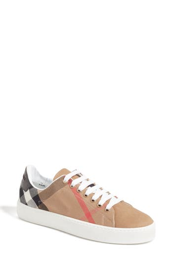 Burberry Check Canvas Lace-Up Sneaker - Black