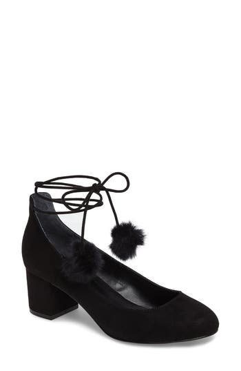 Charles By Charles David Libby Faux Fur Pompom Pump, Black