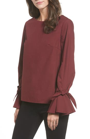 Women's Soprano Tie Cuff Poplin Top, Size Medium - Red