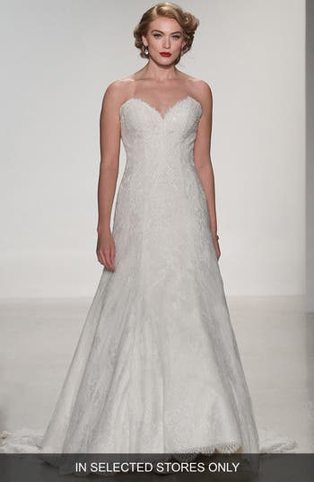 Matthew Christopher Adaline Strapless Lace A-Line Gown