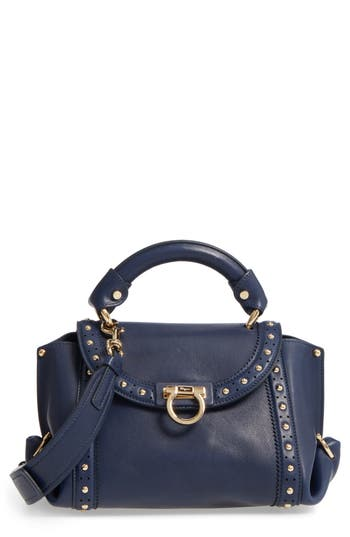 Salvatore Ferragamo Small Sofia Studded Leather Satchel - Blue