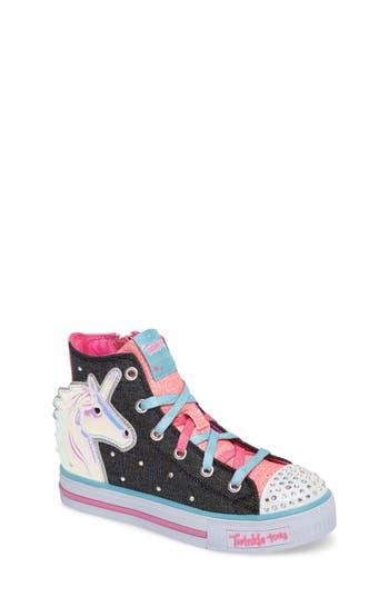 Girl's Skechers Twinkle Toes Shuffles Prancing Pretty Light-Up Sneaker