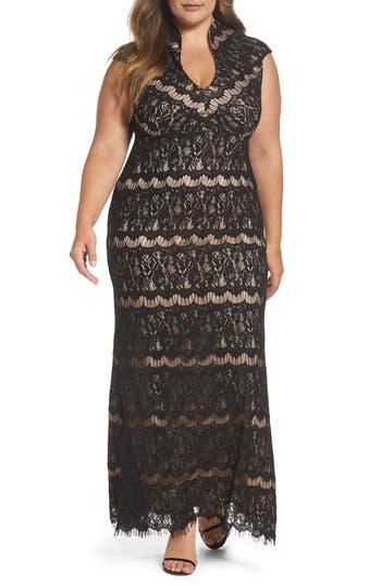 Plus Size Marina Lace Empire Gown, Black